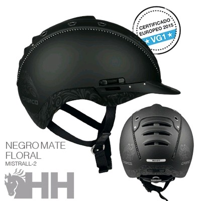 CASCO CAS CO MISTRALL 2 NEGRO MATE FLORAL DECOR XS S (50 54)