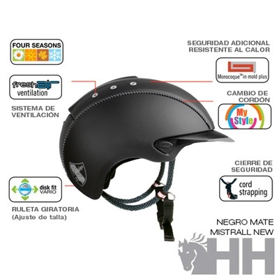 CASCO CAS CO MISTRALL NEW NEGRO  MATE CASCO DECOR S (54 56)