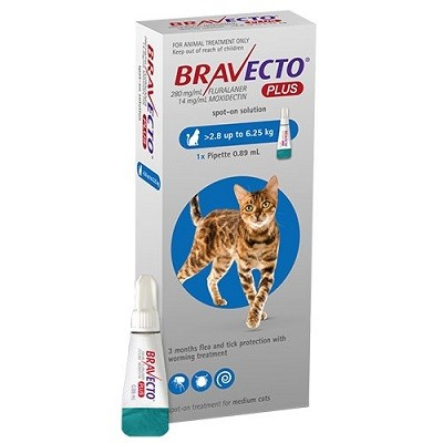 BRAVECTO GATO PLUS M 2.8 KG   6.25 KG 250 MG 1 PIPETA