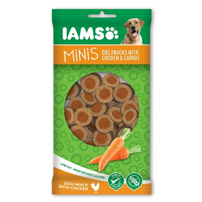 IAMS SNACK CHICKEN&CARROT MINIS 100 GRS