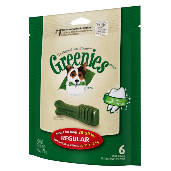 GREENIES PACK 170 GR. REGULAR CAJA 6 X 6 UNDS.