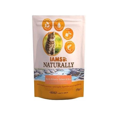 IAMS GATO NATURALLY SALMON Y ARROZ 270 GRS.