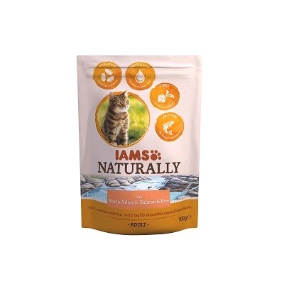 IAMS GATO NATURALLY SALMON Y ARROZ 700 GRS.