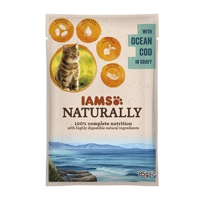 IAMS GATO WET POUCH NATURALLY BACALAO 24 X 85 GRS.