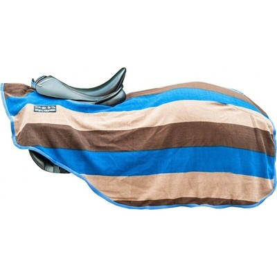 MANTA RIÑONERA  COLOUR STRIPES  8007 AZUL BEIGE MARRÓN OSCURO 125CM